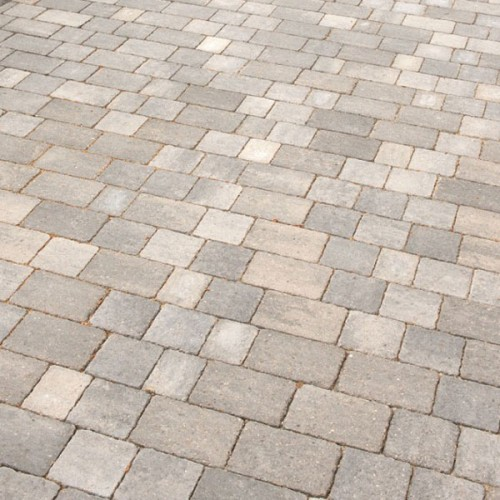 ALPHA TRIO SILVER HAZE RUMBLED BLOCK PAVING