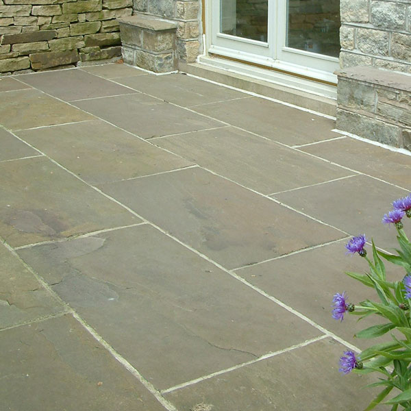 Raj green natural sandstone paving for Green pavers