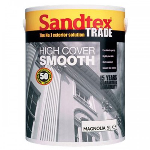 SANDTEX TRADE HIGH COVER SMOOTH MAGNOLIA 5 LITRE
